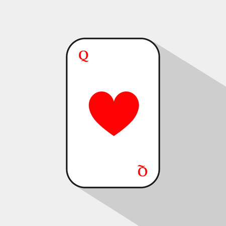 separable: poker card. QUEEN OF HEARTS. white background to be easily separable. icon illustration image used for print, website, fabrics, decorating, design, etc.