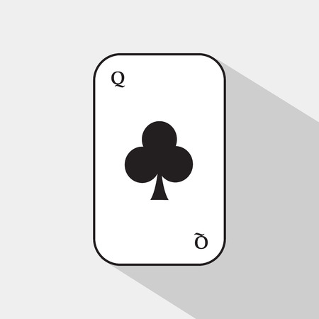 separable: poker card. QUEEN CLUB. white background to be easily separable. icon illustration image used for print, website, fabrics, decorating, design, etc.