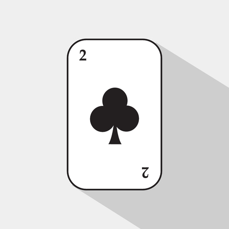 poker card. The two clubs. white background to be easily separable. icon illustration image used for print, website, fabrics, decorating, design, etc. Illustration