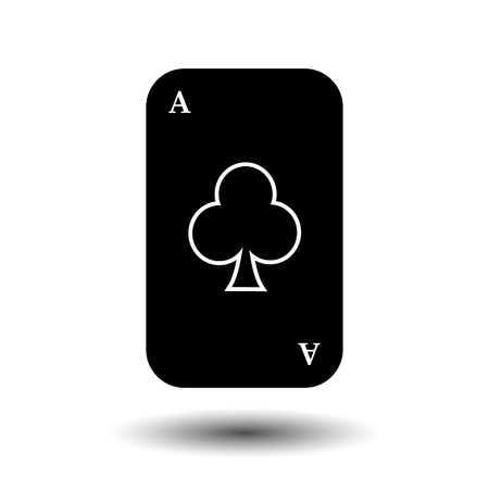 detach: poker card. ACE CLUB BLACK. White easy to separate the background. icon illustration image used for print, website, fabrics, decorating, design, etc.