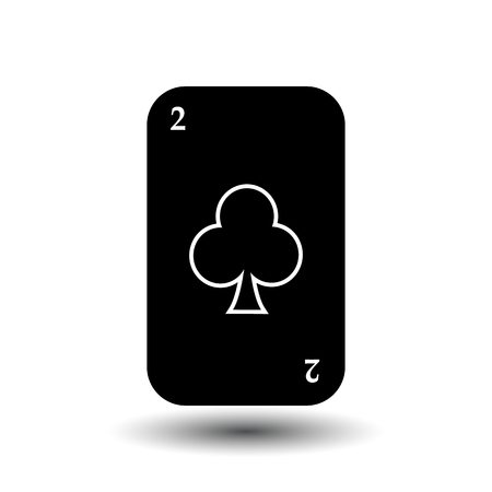 straight flush: poker card. TWO BLACK CLUB. White easy to separate the background. icon illustration image used for print, website, fabrics, decorating, design, etc. Illustration