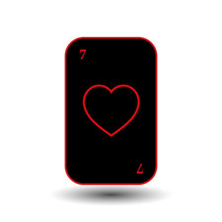 jack pack: poker card. SEVEN BLACK HEART. separate white background. icon illustration image used for print, website, fabrics, decorating, design, etc