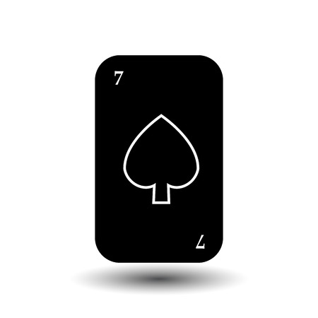 straight flush: poker card. SEVEN BLACK SHOVEL. separate white background. icon illustration image used for print, website, fabrics, decorating, design, etc