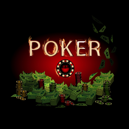 Poker Legend Fire Money On A Dark Background Simple Fashion