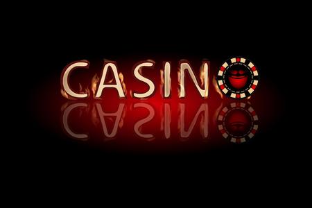 texte d'incendie de Casino. puce sur un fond sombre. symbole de la mode simple pour la conception de site web ou un bouton pour les applications mobiles.