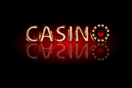 Casino fire text. chip on a dark background. Simple fashion symbol for web site design or a button for mobile applications. Illustration