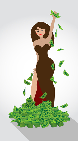 stacking: Dolar. heap of money mountain woman. Simple fashion symbol for web site design or a button for mobile applications.