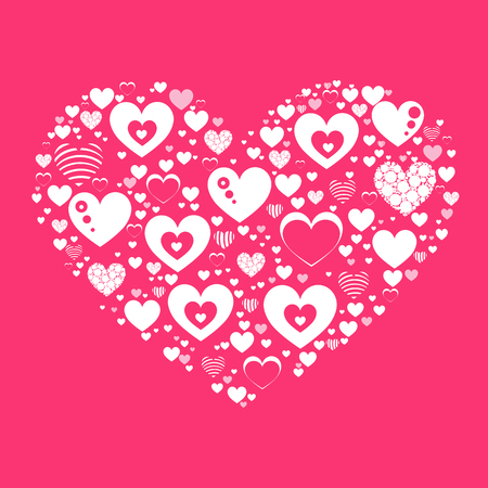 white heart on a pink background. Valentine s Day. Fashionable Simple symbol for web site design or a on for mobile applications. Logo Illustrations  イラスト・ベクター素材