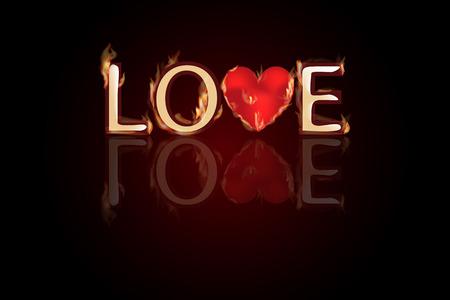 Liebesbrief mit Herz in der Mitte des Feuers. Valentinstag. Ein einfaches Symbol für Website-Design oder eine Schaltfläche für mobile Anwendungen. Standard-Bild - 69580545