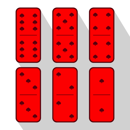gambling stone: Domino red. six pieces on a gray background. used to design websites, printing, decorating, decoration.