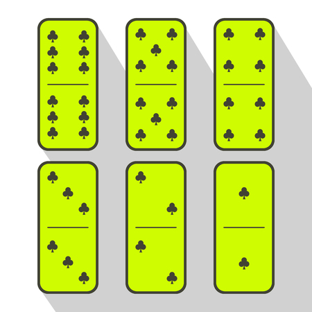 Domino lemon. six pieces on a gray background. used to design websites, printing, decorating, decoration. Illustration