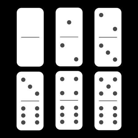 Domino white. zero and zero and six pieces on a black background. used for web development, printing, decorations, ornaments.