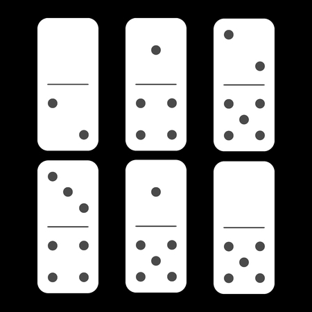 Domino white. zero and two and six pieces on a black background. used for web development, printing, decorations, ornaments.