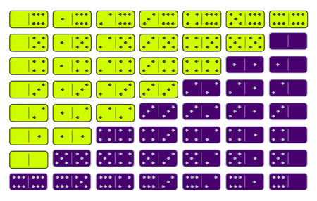 Domino yellow. twenty-eight pieces on a gray background. used for web development, printing, decorations, ornaments.