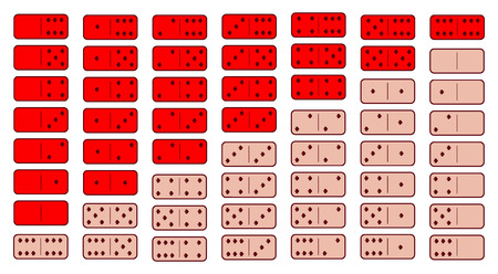 Domino red. twenty-eight pieces on a gray background. used for web development, printing, decorations, ornaments.