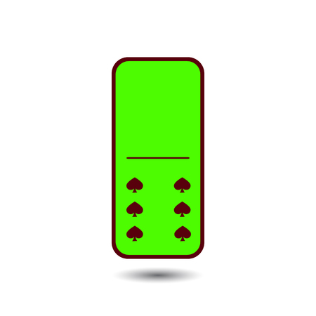 gambling stone: Domino spade. zero and six on isolated background. Modern flat icon, business, marketing, internet concept. Fashionable simple symbol vector for web site design or a button for mobile applications.