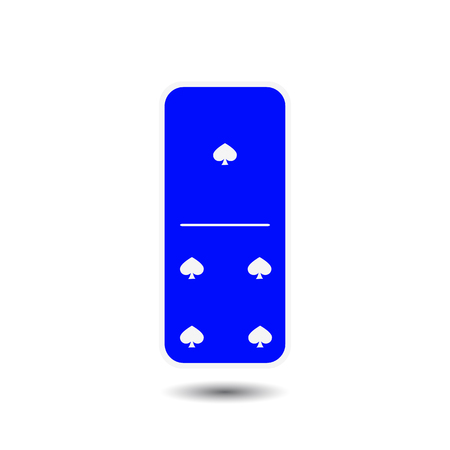 gambling stone: Domino spade. for one and four isolated background. Modern flat icon, business, marketing, internet concept. Fashionable simple symbol vector for web site design or a button for mobile applications. Illustration