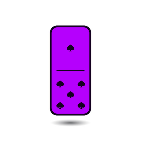 gambling stone: Domino spade. one and five on isolated background. Modern flat icon, business, marketing, internet concept. Fashionable simple symbol vector for web site design or a button for mobile applications. Illustration