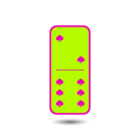 manos unidas: Domino spade. two and six on isolated background. Modern flat icon, business, marketing, internet concept. Fashionable simple symbol vector for web site design or a button for mobile applications.