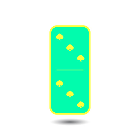 Domino spade. three and three on isolated background. Modern flat icon, business, marketing, internet concept. Fashionable simple symbol vector for web site design or a button for mobile applications. Illustration