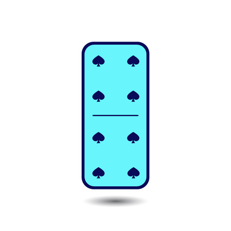 Domino spade. four and four on the isolated background. Modern flat icon, business, marketing, internet concept. Fashionable simple symbol vector for web site design or a button for mobile applications.