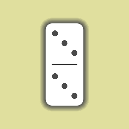 Domino white. three and three on isolated background. Modern flat icon, business, marketing, internet concept. Fashionable simple symbol vector for web site design or a button for mobile applications. Illustration