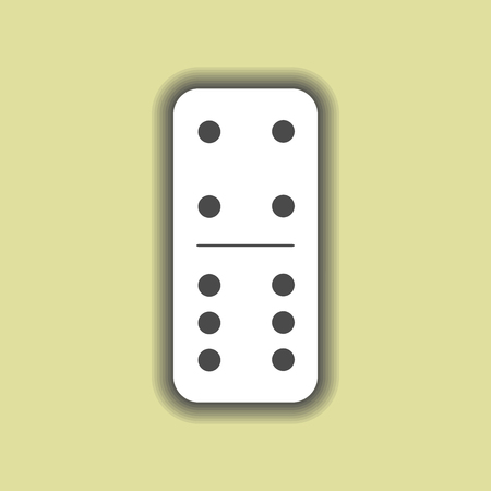 Domino white. four and six on isolated background. Modern flat icon, business, marketing, internet concept. Fashionable simple symbol vector for web site design or a button for mobile applications. Illustration