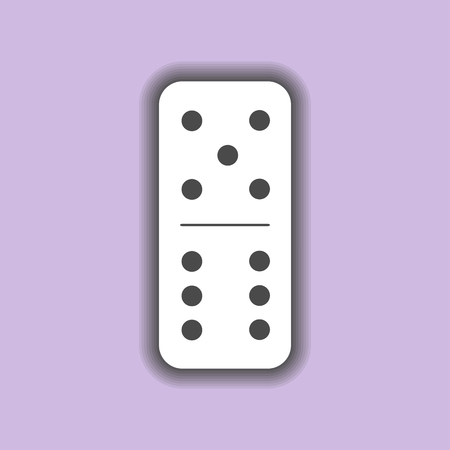 Domino white. five and six on the isolated background. Modern flat icon, business, marketing, internet concept. Fashionable simple symbol vector for web site design or a button for mobile applications.