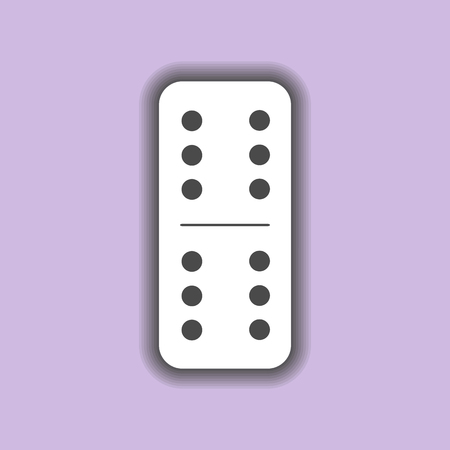 sabotage: Domino white. six and six on the isolated background. Modern flat icon, business, marketing, internet concept. Fashionable simple symbol vector for web site design or a button for mobile applications.