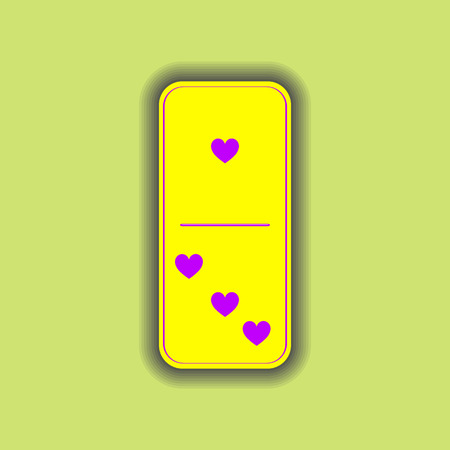 Domino heart. one and three on the isolated background. Modern flat icon, business, marketing, internet concept. Fashionable simple symbol vector for web site design or a button for mobile applications.