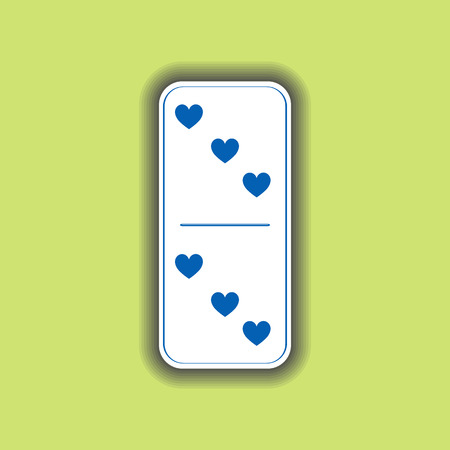 Domino heart. three and three on the isolated background. Modern flat icon, business, marketing, internet concept. Fashionable simple symbol vector for web site design or a on for mobile applications. Logo Illustrations Illustration