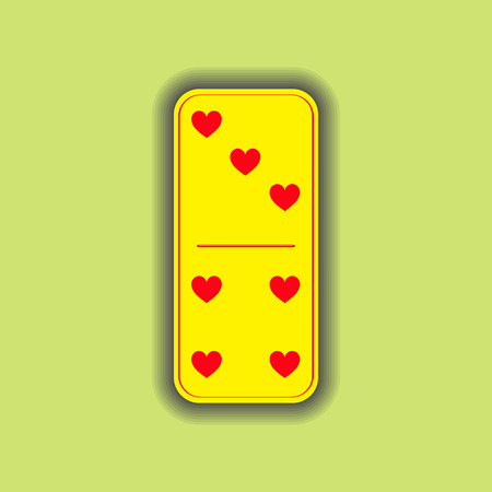 Domino heart. three and four on the isolated background. Modern flat icon, business, marketing, internet concept. Fashionable simple symbol vector for web site design or a on for mobile applications. Logo Illustrations