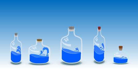 five bottles of water illustration. FOR USE design, decoration, printing, smart phone, website etc