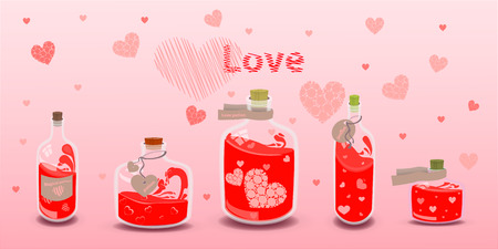 valentine s day. Five elixir of love with labels. illustration on isolated background. FOR USE design, decoration, printing, smart phone, website, etc. Illustration