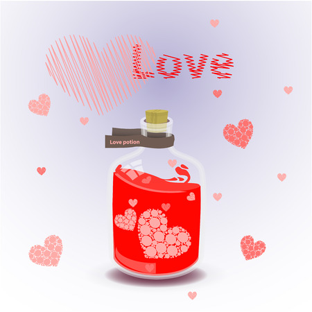 alchemist: valentine s day. red elixir of love. illustration on isolated background. FOR USE design, decoration, printing, smart phone, website, etc Illustration
