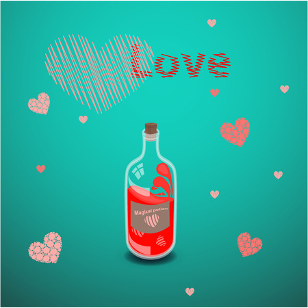 valentine s day. red heart with a love spell potion. illustration on isolated background. FOR USE design, decoration, printing, smart phone, website, etc. Illustration