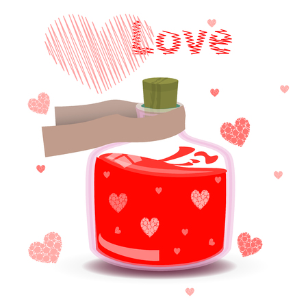 valentine s day. elixir of love with the label and hearts. illustration on isolated background. FOR USE design, decoration, printing, smart phone, website, etc. Illustration