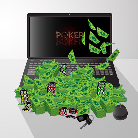 Laptop and dollars pile of poker chip winnings illustration on isolated background. FOR USE design, decoration, printing, smart phone, website, etc. Stock Illustratie
