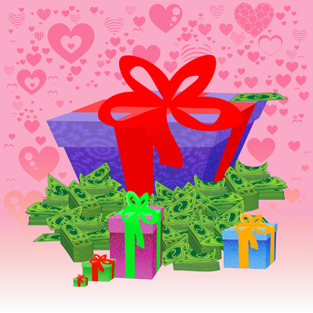 A gift and a lot of money dollars. illustration. in the heart isolate background. used for printing, websites, decor, design, telephone etc