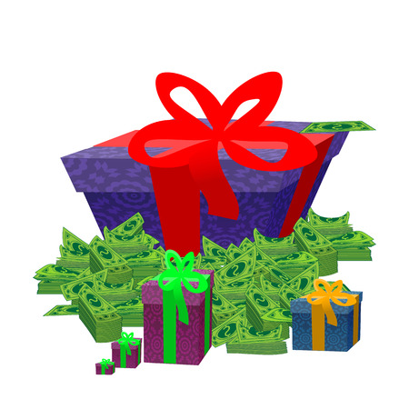 A gift and a lot of money dollars. illustration. isolation on a white background. used for printing, websites, decor, design, telephone etc