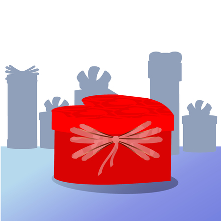 gift in box with red bow. in the form of heart Illustration