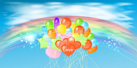 Himmel mit Wolken und Fackel Horizont. Regenbogen und viele Ballons. Illustration. Verwenden Sie für Website, Telefon, Computer, Druck, Stoff, Dekoration etc Illustration