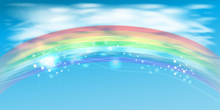 sky with clouds and flare horizon. Rainbow and glowing lines. Illustration. Use for Website, phone, computer, printing, fabric decoration design etc