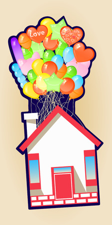 House on the balloons to fly. Illustrations. Use for Website, phone, computer, printing fabric decoration design etc