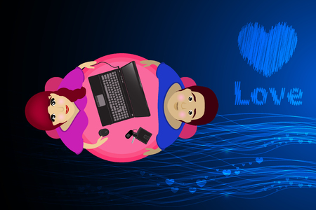 a pair of laptop. background blue. Valentine s Day. Glowing lines and hearts in a row. The word is love. Illustration. Use for Website, phone, computer, printing, fabric, decoration, design etc