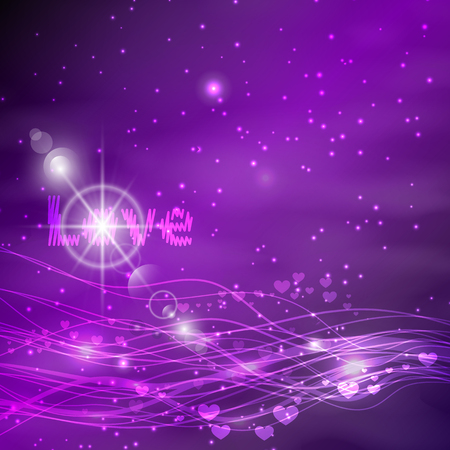 violet background. Glowing lines and serdtsae with glare. The word is love. Illustration. Valentine s Day. Use for Website, phone, computer, printing, fabric decoration design etc Illustration