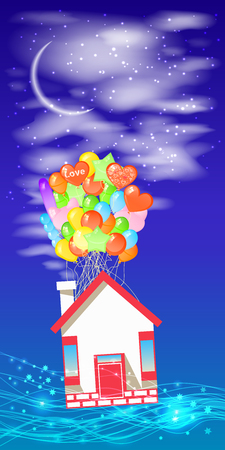 House on the balloons to fly the sky with a month. Illustrations. Use for Website, phone, computer, printing, fabric, decoration design etc Illustration