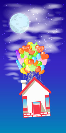 House on the balloons to fly the sky with the moon. Illustrations. Use for Website, phone, computer, printing, fabric, decoration design etc