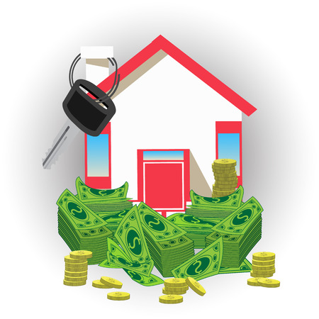 House key with money. an icon with a red roof. on a pastel background. Illustrations. Use for Website, phone, computer, printing, fabric, decoration design etc Illustration