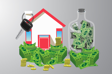 House key with money and piggy bank. an icon with a red roof. on a gray background. Illustrations. Use for Website, phone, computer, printing, fabric, decoration, design etc